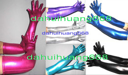 halloween cat accessories Canada - Sexy Long Gloves New 15 Color Shiny Lycra Metallic Long Gloves Unisex Sexy Gloves Halloween Party Fancy Dress Cosplay Costumes DH239