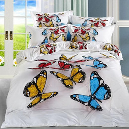 Colorful Modern Bedding NZ - FS-565 100% Cotton bedclothes Classical 4pcs White Fabric with Colorful butterfly print bedding set