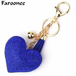 $enCountryForm.capitalKeyWord NZ - Love Heart Keychain Women Crystal Beads Key Ring Handbag Pendant Charms Long Tassel Golden Chain Bag Jewelry Porte Clef 7C0466