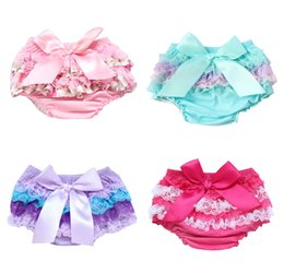 $enCountryForm.capitalKeyWord Australia - Ruffle Baby Bloomers Soft Lace Newborn Diaper Cover Baby Toddler Bloomer Outfit Child Girls Shorts With Bow 0-3T