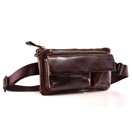 Men Zipper Waist Bags Solid Waist Pack Cow Leather Clutch Bag Male Oil Wax  Genuine Leather Belt Phone Pouch Casual Fanny Pack 3d1fb6e007