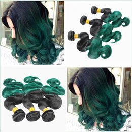 ombre hair extensions 22 inch NZ - Two Tone 1B Green Color Body Wave Hair Extension 10-30 Inch Ombre 1B green Body Wavy Hair Weft 3Bundles Free Shipping