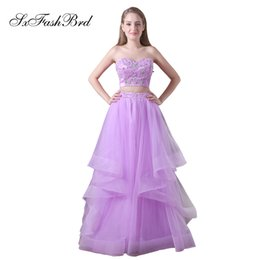 $enCountryForm.capitalKeyWord NZ - Elegant Girls Dress Sweetheart With Appliques Crop Top A Line Long Party Formal Evening Dresses for Women Two Pieces Prom Dress Gowns