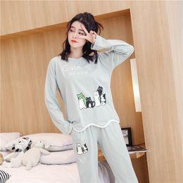 87f737dd7c 100% Cotton Pajama Sets for Women 2018 Autumn Winter Long Sleeve Cute Girls  Cartoon Cat Pyjama Loungewear Homewear Home Clothing