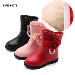 pearl shoes boots UK - Winter Waterproof Girls Boots Pearl Flower Warm Snow Boots Kids Girl Princess Shoes Chaussure Girls Add Velvet Boots #11