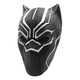 Adult Captain America Mask UK - New Movie Latex Black Panther Mask Helmet Props For Adult Halloween Costume Captain America Roles Cosplay Party mask