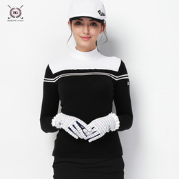 Wholesale Golf clothing women s long sleeved T shirt ladies autumn and winter golf warm knitted collar sweater For Women