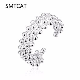 925 Silver Grape Bracelets UK - SMTCAT Best Gift silver plated bangles Diameter7CM Grape beads small ball bangle women bracelet Factory Wholesale 925 stamp