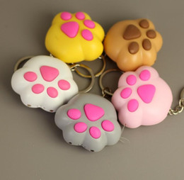 $enCountryForm.capitalKeyWord NZ - Cute LED Light Keychain with Sound Cat Paw Shape Keyring Women Bag Decor Gift
