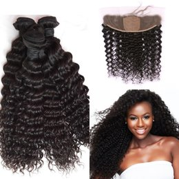 $enCountryForm.capitalKeyWord NZ - 13*4 Indian Deep Wave Curly Hair Silk Base Frontal Closure With 3 Bundles Virgin Human Hair Extensions 8-30inch