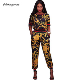 moleton pants 2019 - Almagores Summer Tops+Pants Women 2 Piece Sets Gold Chain Printing Women Tracksuit Fashion conjunto moleton feminino Out