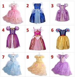 bohemian skirt wholesale 2019 - 9 Style Girls princess Lace dress 2018 New kids fashion cosplay bowknot Bows dresses baby Pink purple blue dress skirt d