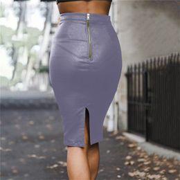 2759a9ab29 2018 Autumn Winter PU Thicken Midi Skirt Office Lady Pencil Leather Skirt  Back Zipper Women Saia Faldas Mujer Moda