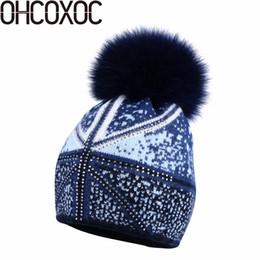 20936311ba9 OHCOXOC New Women Beanies Real Fox Fur Pom Poms Ball Cap Keep Warm Beanies  Skullies Autumn woman fashion Cashmere Winter Hat