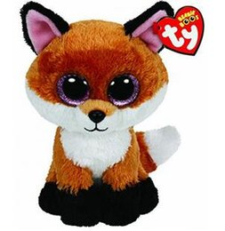 ty big eye plush UK - Ty Beanie Boos 6-Inch Slick Brown Fox Plush Beanie Baby Plush Stuffed Doll Toy Collectible Soft Toys Big Eyes Plush Toys