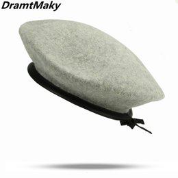Wholesale New style Pure Wool Women Knit Beret Winter Warm Female British Style Lady Painter Bonnet Hats Solid Color Hot