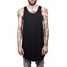 Wholesale white man hip hop swag for sale – custom Men Summer Hip Hop Extend Long Tank Top Men s White Vest Fashion Swag Sleeveless Cotton Solid Tops
