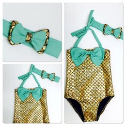 kid girls one piece swimwear Australia - Girls Bowtie Mermaid One-piece Swimsuit Princess Swimwears Children's Swimwear Kids Toddler Bikini 2 Pcs Suit 3 Colors Children Bathing