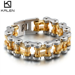 gold bicycle charm NZ - Bicycle Bracelet & Bangle Mens Women 230MM 316L Stainless Steel Jewelry Silver Gold Chain Design Special Gift KALEN