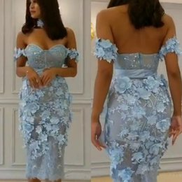 pearl beaded plus size belt NZ - 2018 Tea Length Sheath Prom Dresses Off Shoulder Sequins Boned Bodice Handmade Flowers Belts Pearls Appliques Lace Short Evening Gowns