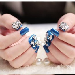 Full Diamonds NZ - 24Pcs set French 3D Bridal Wedding False Nails Nail Art Design Acrylic Blue Diamond Full Fake Nail Tips For Nail Art Tool