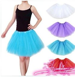 Cheap Pink Tutus For Women Australia - Free Shipping New Arrival Cheap Colorful White Pink Blue Green Black Adult Tulle Skirt Dance Ballet Tutu Skirts Adults For Sale