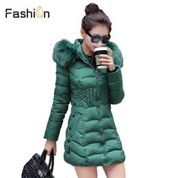Cotton Long Overcoat Ladies NZ - Plus Size 4XL Parka Women Winter Coats Long Cotton Casual Fur Hooded Jackets Ladies Warm Winter Parkas Female Overcoat Coat