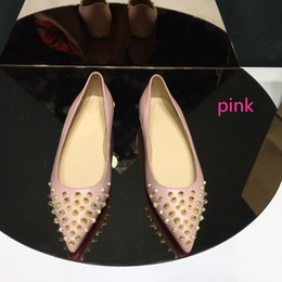 Flat Gold Studs NZ - 2018 Hot sale Fashion Luxury Pointed Toe Pumps genuine leather stud shoes Best Sale Women Rivets Flats Shoes