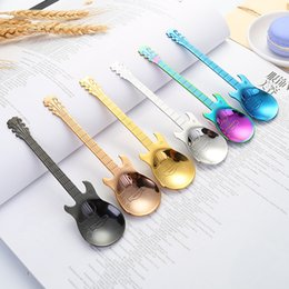 guitar handle NZ - New 304 Stainless Steel Guitar Shape Spoon Handle Spoon Cutlery Coffee Drink Tool Kitchen Stirring Spoon 6 Colors