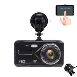 Wdr Cameras NZ - 4.0 inches touch screen car DVR camera 2Ch dashcam recorder full HD 1080P 170 degrees wide view angle WDR G-sensor parking monitor