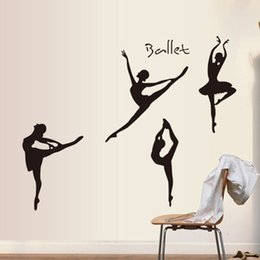 $enCountryForm.capitalKeyWord NZ - Creative Ballet Girls Wall Stickers PVC Self-adhesive Wallpapers Waterproof Can Be Removable Arts Murals Home Decor Free Shipping