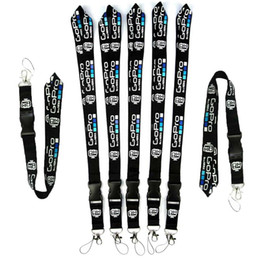 neck strap mobile UK - 100pcs Wholesale black Go-Pro Logo Accessories Neck Strap Lanyard for Keys ID Badge Holders Mobile Phone Neck Straps Hanging Rope For iphone