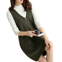 cotton cashmere sweater women UK - Women's Cashmere Knit Pullovers Vest Waistcoat Autumn Winter Sweater Vests V Neck Sleeveless Outerwear Female Jackets Long Coats