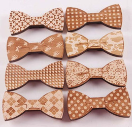 Plaid bowties online shopping - Wooden Bow Tie for men Bridegroom New Fshion Wood Style Gentleman Bow Ties bowties for wedding party