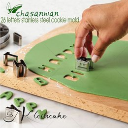 Kitchen Decorators NZ - Wholesale- Creative A-Z 26 English Letters Stainless Steel Cookie Moulds Cake Mold Baking Tools cake decorating tool Products for kitchen-W