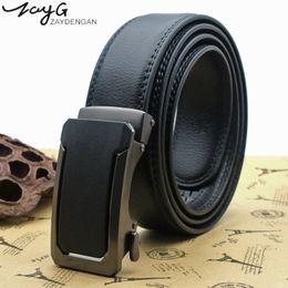 Types Belts Men Canada - ZAYG Men black brown Upscale Car type metal Automatic buckle Belt Casual simplicity Belts Men Luxury Strap Male classic Belt