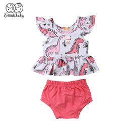 c0e166aa5443 2Pcs Set 2018 New Kids Clothes Summer Infant Baby Girl Dinosaur Printed Fly-sleeve  Tops Mini Dress PP Pants Hot Children Outfits cheap hot pant kids dresses