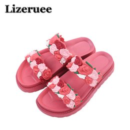 b25c337721ec Summer Women Slippers 3D Artificial flower Slides Flat Soft Home Flip Flops  Female Sparkling Crystal Shoes Beach Sandals HS118