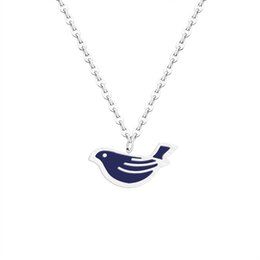 $enCountryForm.capitalKeyWord NZ - 10PCS Creative Sparrow Peace Dove Cute Bird Pendant Necklaces Stainless Steel Essential Blue Oil Diffuser Accessories for Women