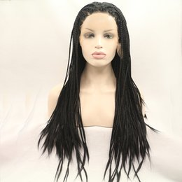 Discount wig micro braids - Fantasy Beauty Synthetic lace front wig 1B black micro baby hair braid with for women heat resistant fiber box braid wig