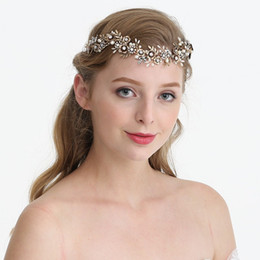 Gold Headbands NZ - Antique Gold Flower Bridal Headpiece Leaf Headband Wedding Tiara Hair Vine Accessories Handmade Women Hair Jewelry