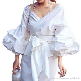 $enCountryForm.capitalKeyWord Australia - 4xl 2xl 1xl Xl L M S Sexy Puff Sleeve Blouse Blusas White Shirts Women Kimono Elegant Blouse Plus Size Women Blouses Bow Plaid Women Tops