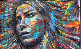 $enCountryForm.capitalKeyWord NZ - Graffiti girl rainbow hair face Handpainted & HD Print Street pop Art Oil Painting Home Decor Wall Art On Canvas.Multi sizes p193