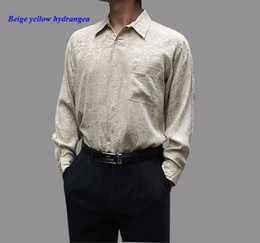Discount momme silk - 100% natural silk male long-sleeve shirt,19 momme of pure silk men shirt,100% jacquard casual shirt,pure shirts