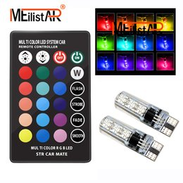 flash controller 2019 - 2PCS 5050 SMD RGB T10 194 168 W5W Car Dome Reading Light Automobiles Wedge Lamp RGB LED Bulb With Remote Controller Flas