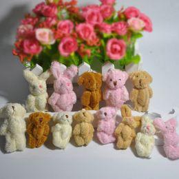 59951589f7c 4.5cm 6cm Lovely Long Plush Mini Joint Teddy Bear Small Rabbit Pendant Key  chain Bag adornment Amigurumi Stuffed Dolls