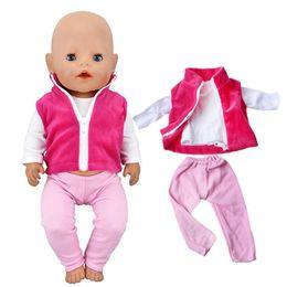 $enCountryForm.capitalKeyWord NZ - 3Pcs Set Doll Leisure Vest+Coat+Pants Clothes Fit 43cm Baby Born zapf Doll Or American Girl Handmade Clothing Children Gift