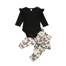 boys ruffle top UK - 2018 Brand New Cute 2Pcs Toddler Kids Baby Boy Girl Cotton Outfits Solid Long Flying Sleeve Tops Ruffles Long Pants 2Pcs 0-24M