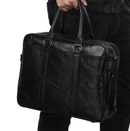 male laptop bags UK - Men' shoulder Casual Genuine Leather Business handBags Briefcase,male for 14 or 15.6 inches laptop Messenger Bags Briefcases