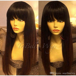 synthetic heat resistant wigs cheap NZ - Cheap Sexy Black Color Silky Straight Long Wigs for Black Women Heat Resistant Glueless Synthetic None Lace Wigs with Bangs High Quality